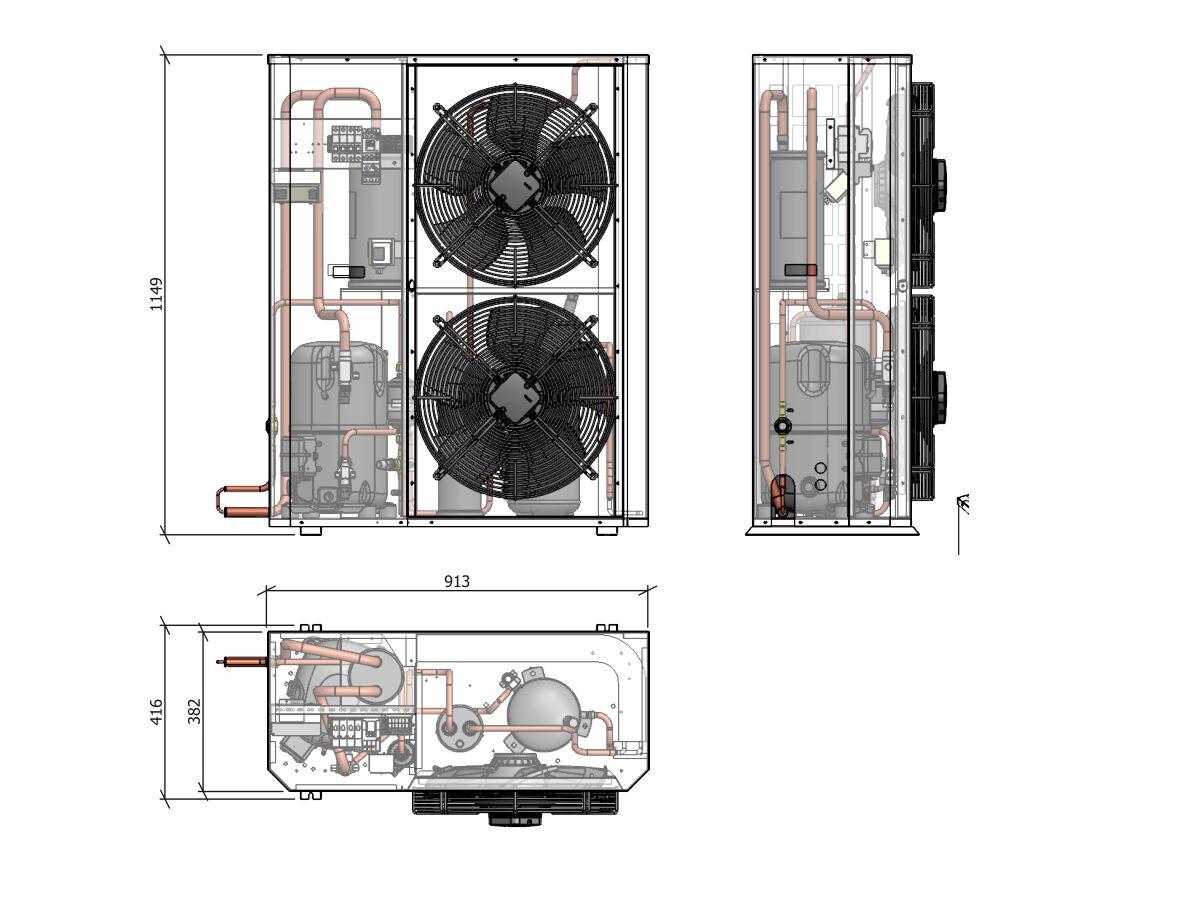 Tecumseh Compac Condensing Unit R404A PAC2522Z 3 Phase
