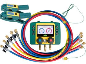 """Refmate 2 Digital Manifold With 2 Temperature Sensors & 5 x 60"""" Hoses With Ball Valves & 2 Wireless Temperature Clamps"""""""