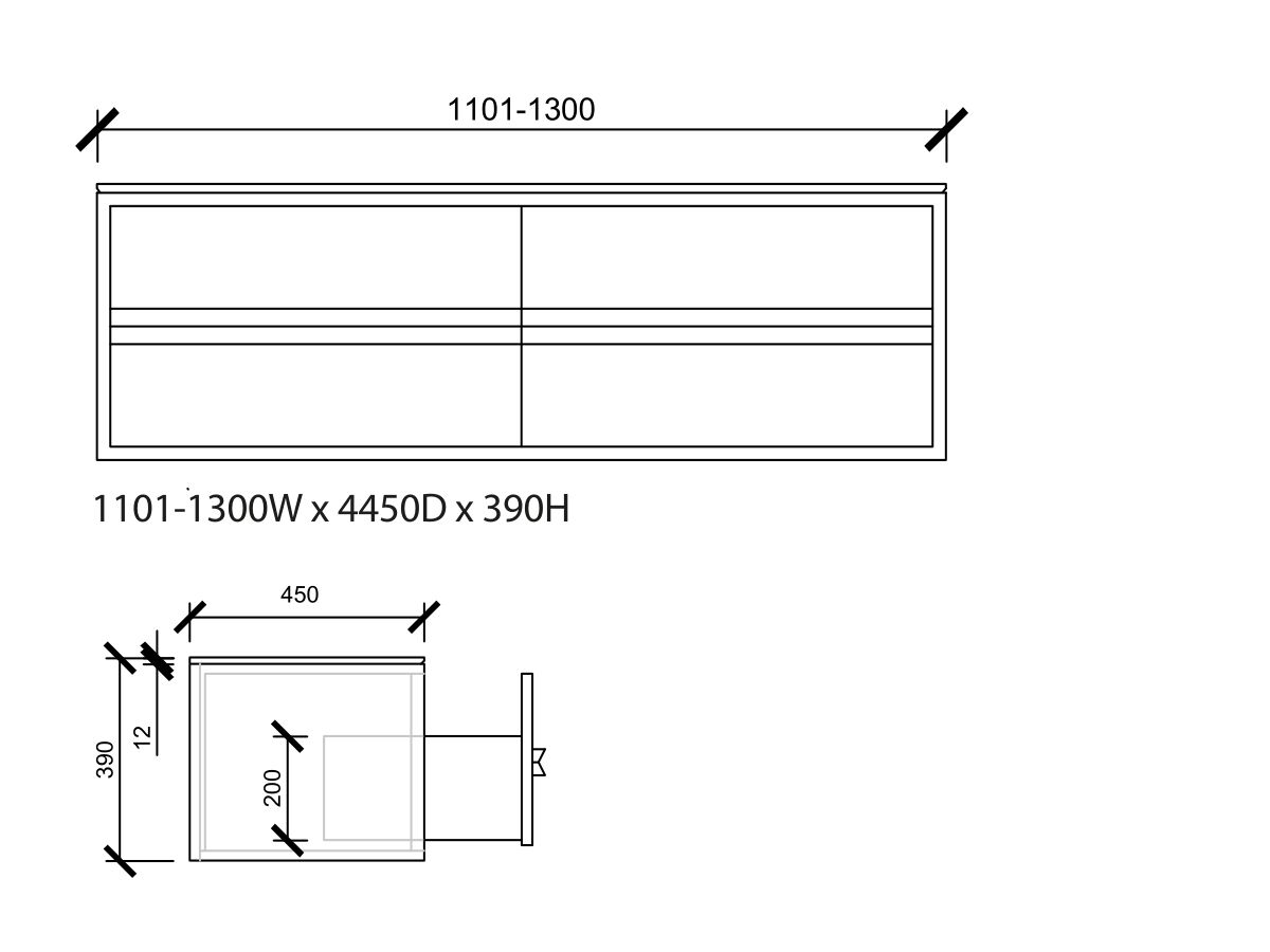 Issy Z8 Vanity Unit 4 Drawer Custom 1101-1300