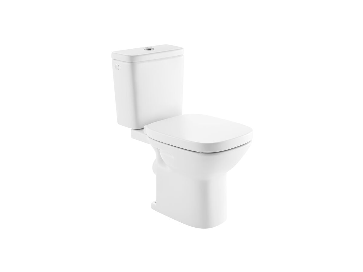 Debba Close Coupled Toilet Suite P Trap Back Inlet with Soft Close Quick Release Seat White (4 Star)