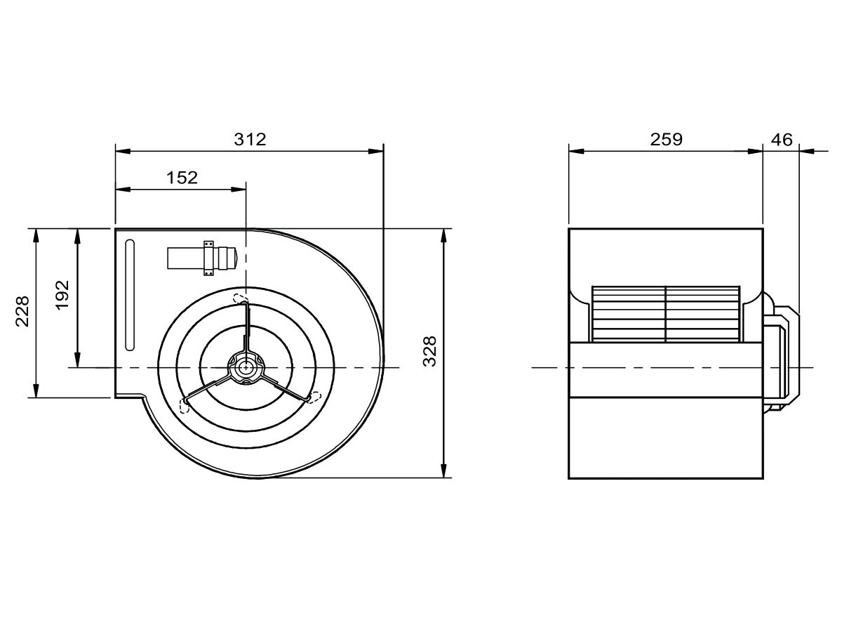 Technical Drawing - Kruger Centrifugal Fan KDD7/7 165W4P-1 1S