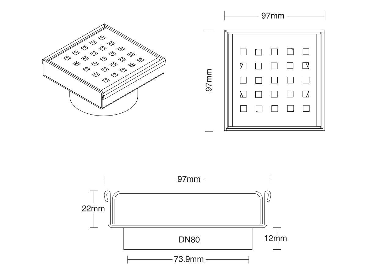 Kado Classic Square Channel 97mm DN80 Waste Satin