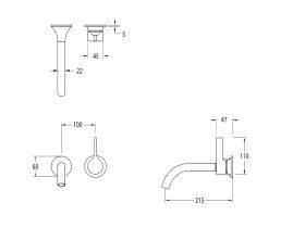 Milli Oria Wall Basin Mixer Outlet System 215mm (5 Star)