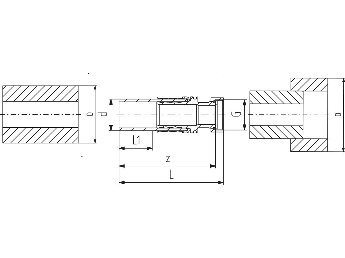Technical Drawing - Cool-Fit 2.0 Brass Loose Nut Connector