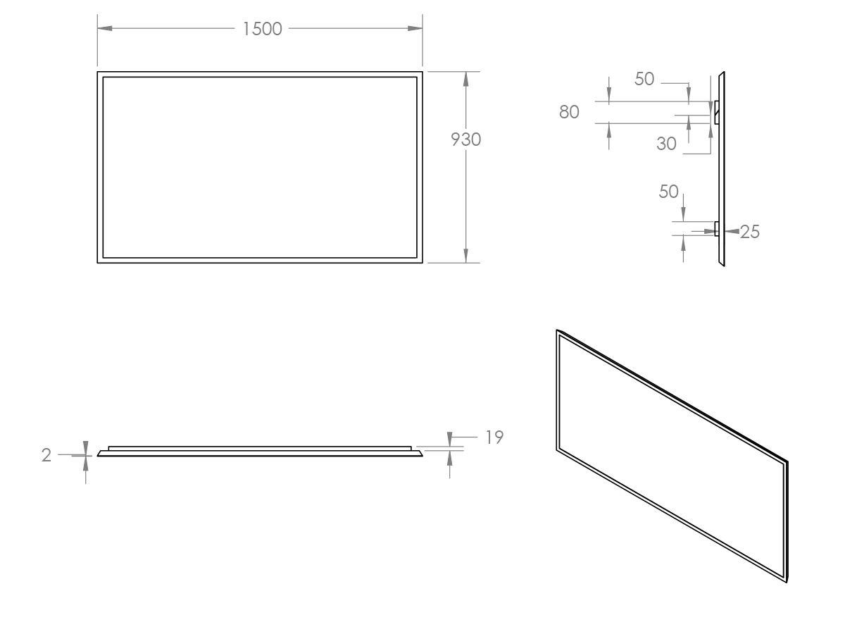 Issy Z8 Mirror 1500mm (Wide) x 50mm (Deep) x 930mm (Height)