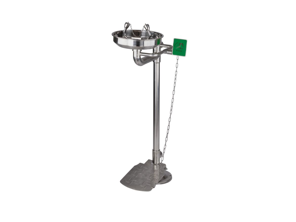 Wolfen Freestanding Safety Eye Wash with Foot Pedal Polished Stainless Steel