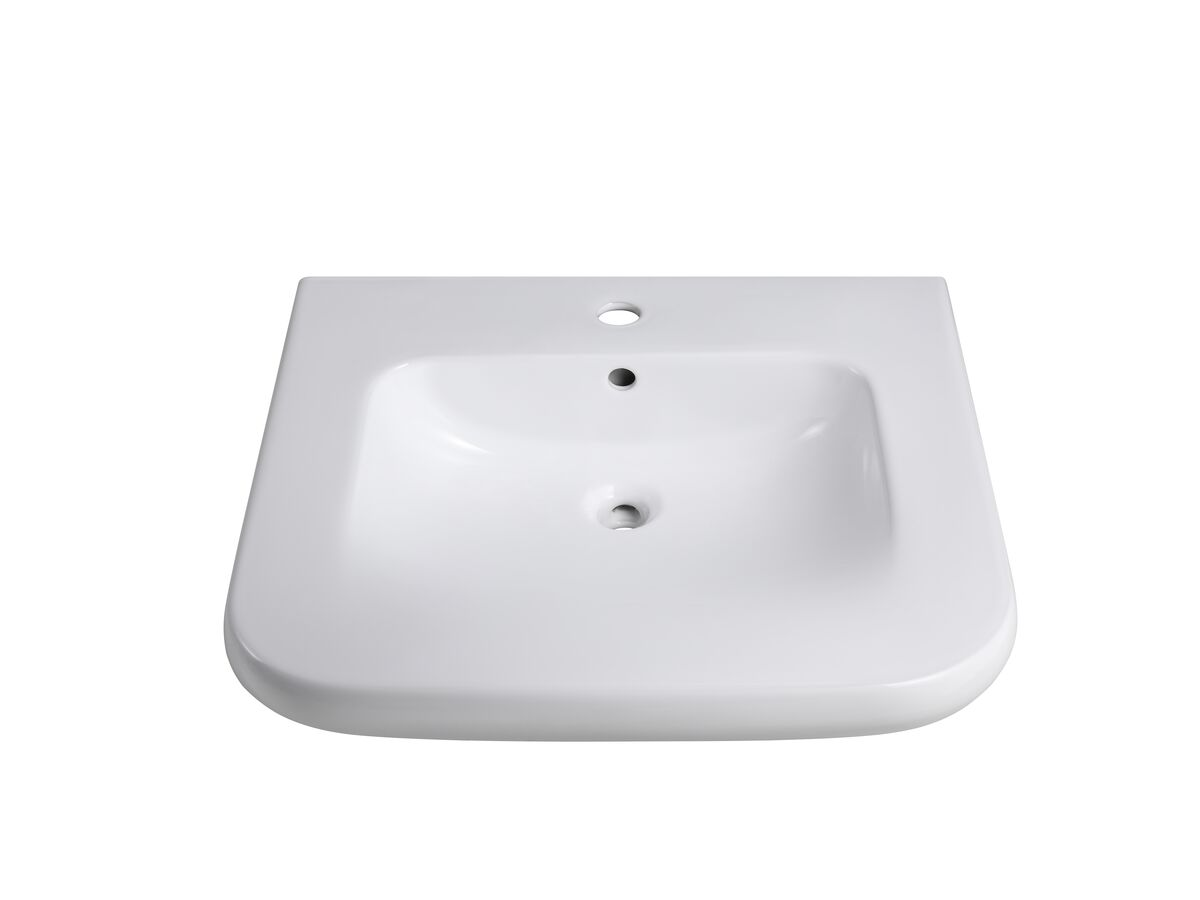 Wolfen Wall Basin Only 600 x 555mm Overflow 1 Taphole White
