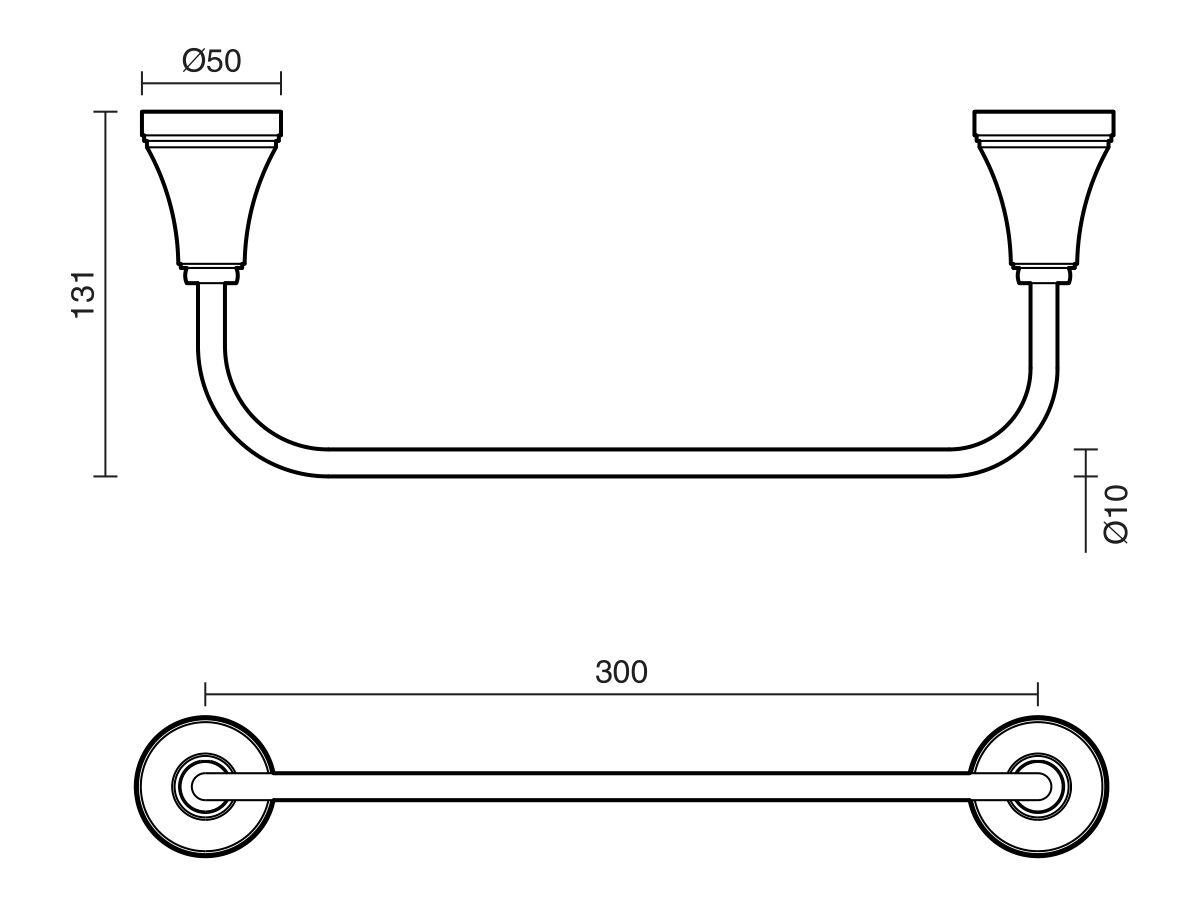 Kado Classic Single Towel Rail 300mm Chrome