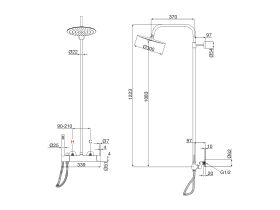 Milli Inox Wall Mount Twin Rail Shower with 300mm Overhead Stainless Steel (3 Star)