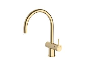 Scala Sink Mixer Tap Large Curved Spout Right Hand Brass Gold