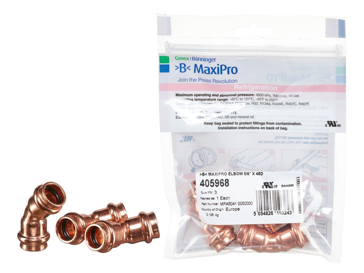 ">B< Maxipro Elbow 45 Degree x 5/8"" Bag of 3"""
