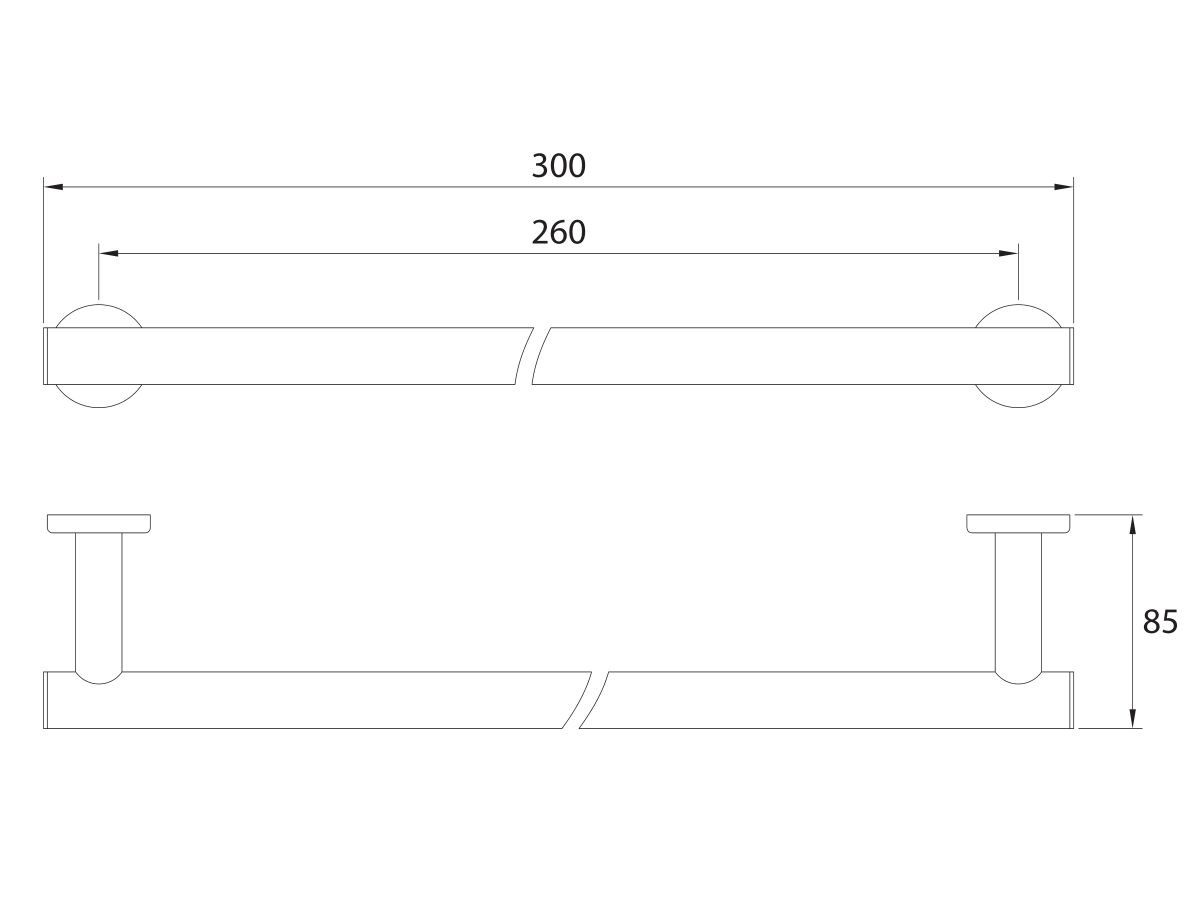 Mizu Drift Towel Rail 300mm Chrome