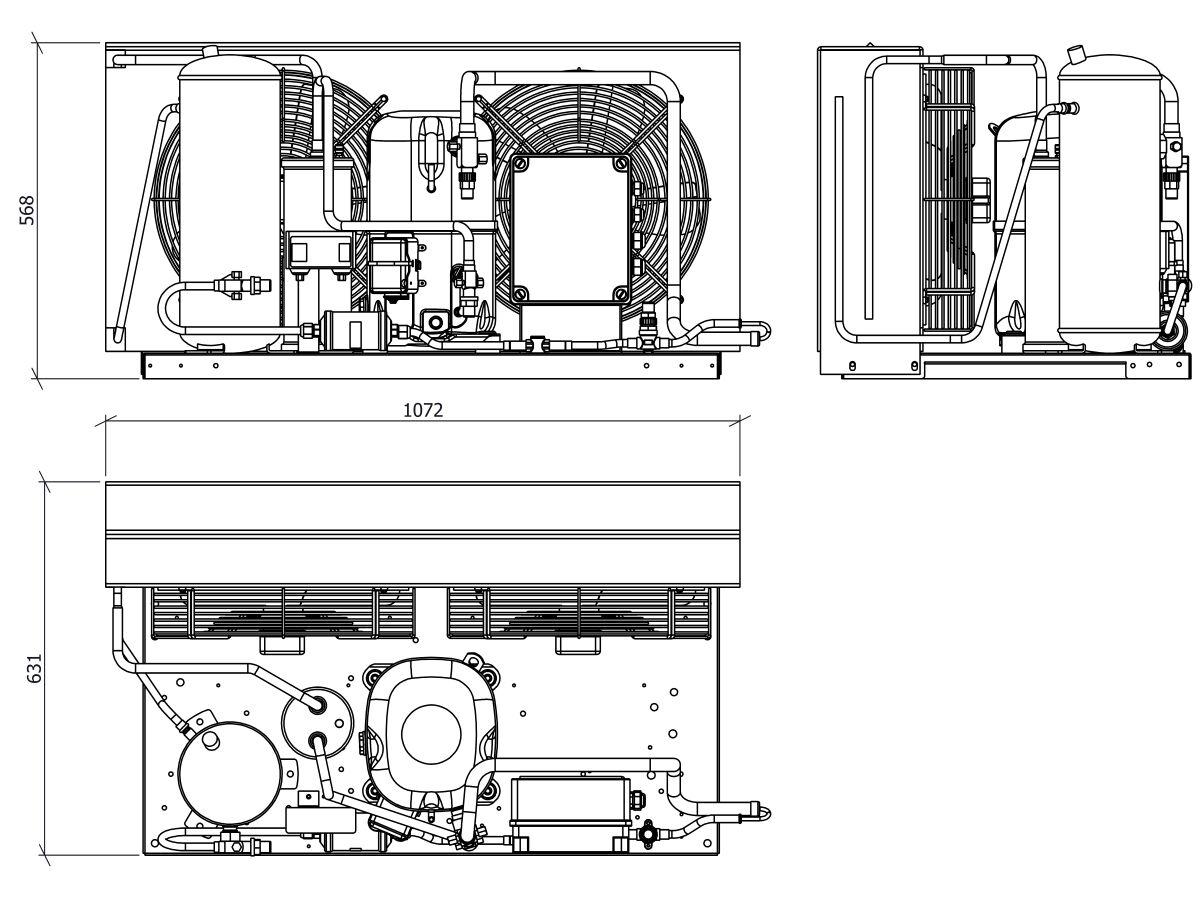 Tecumseh EVO Condensing Unit 5hp R404 MHBP EPCH4561Z-3 Phase
