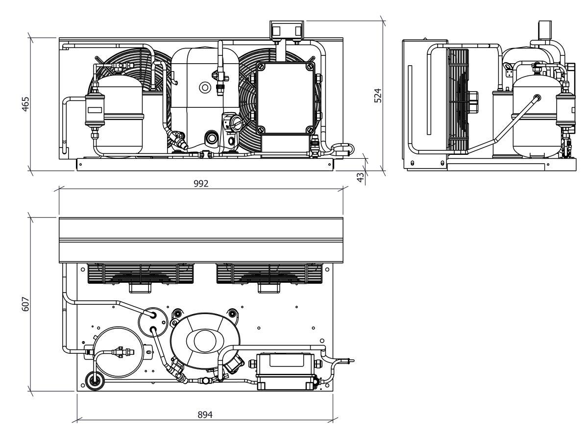 Tecumseh EVO Condensing Unit 2.5hp R404 MHBP EPCH4531Z-1 Phase