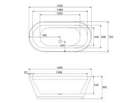 Base Freestanding Bath 1560 x 750 x 560mm White