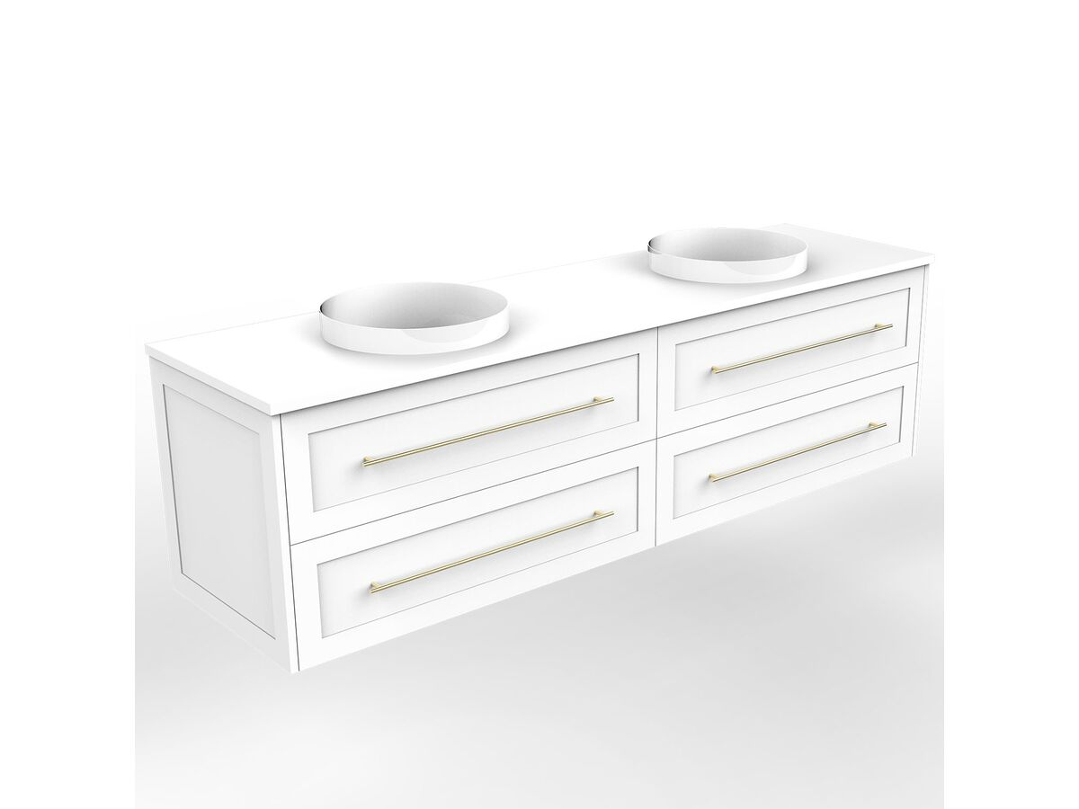 Kado Lux Wall Hung 1800mm 4 Drawer Double Bowl Vanity (No Basin)