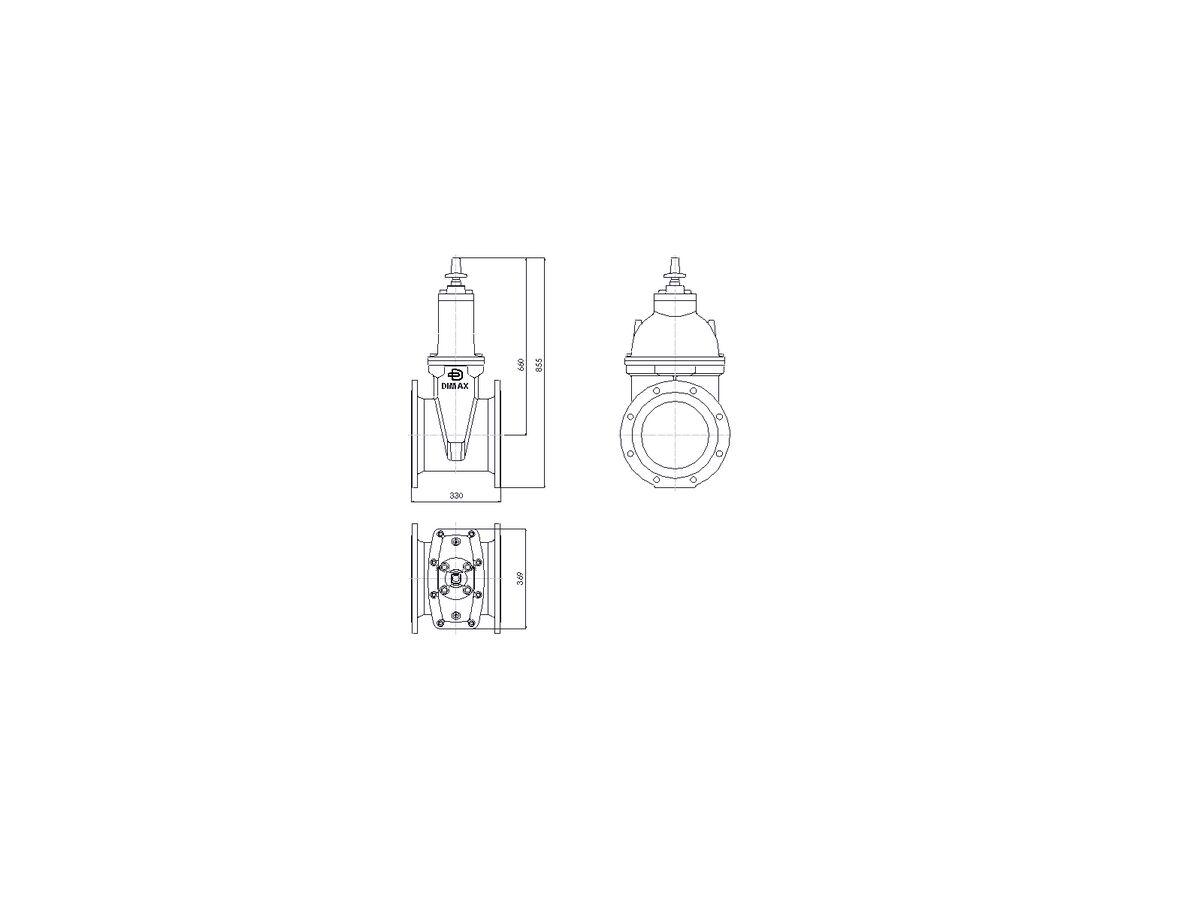 Line Drawing - 250 DIMAX FL PN16 RS GATE VALVE B5