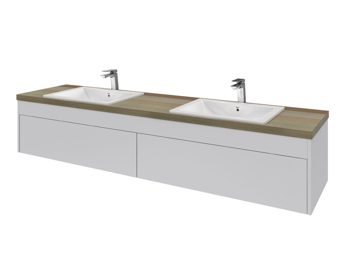 Acqua Wall Hung Vanity Unit Double 1800mm Blackbutt Timber Top