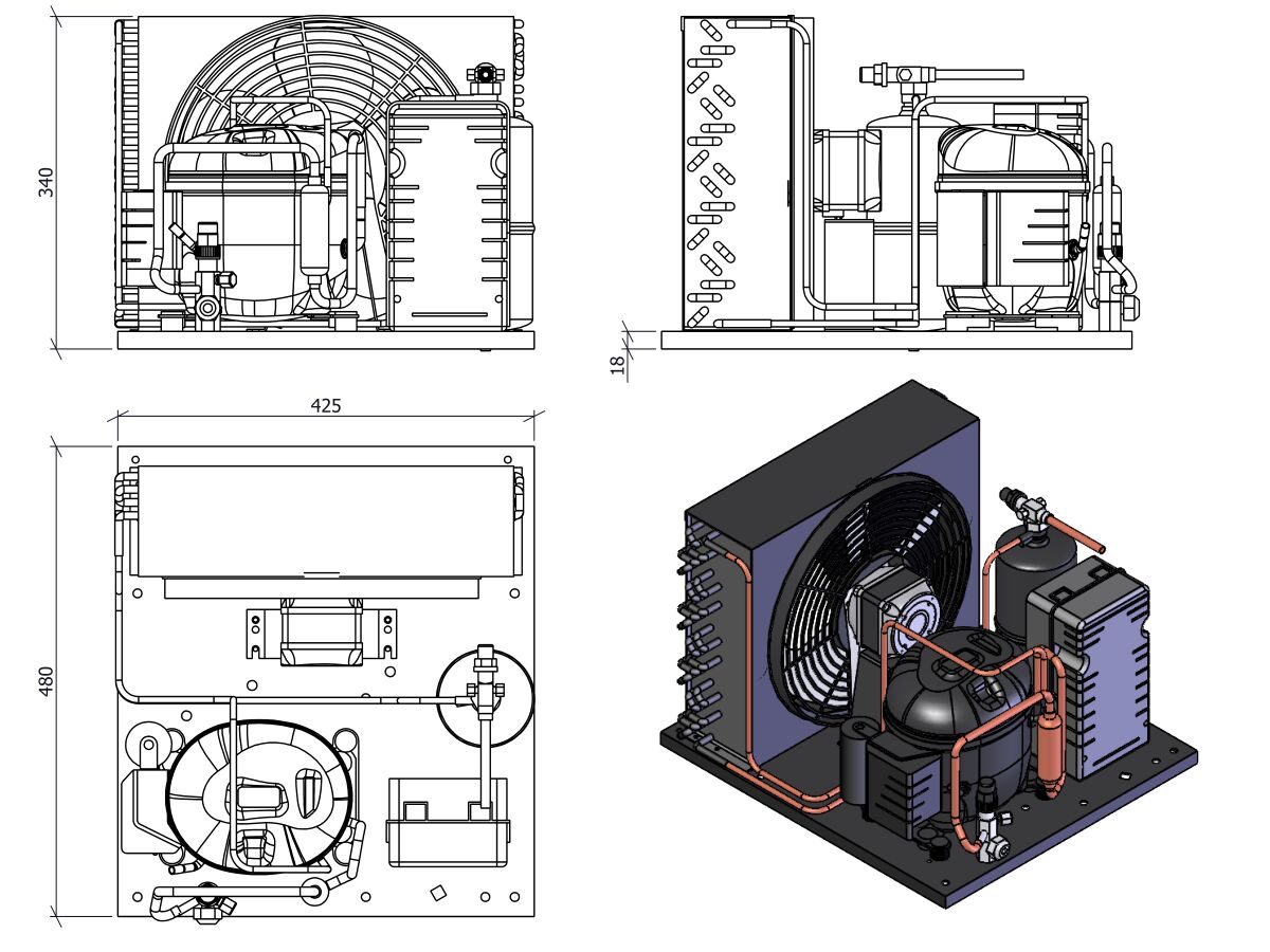 Tecumseh Condensing Unit 1/2HP R134A MHBP AET4460YHR