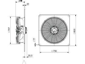 Technical Drawing - SolerPalau Fan 630mm 3Ph HRST/4-630/33BZ