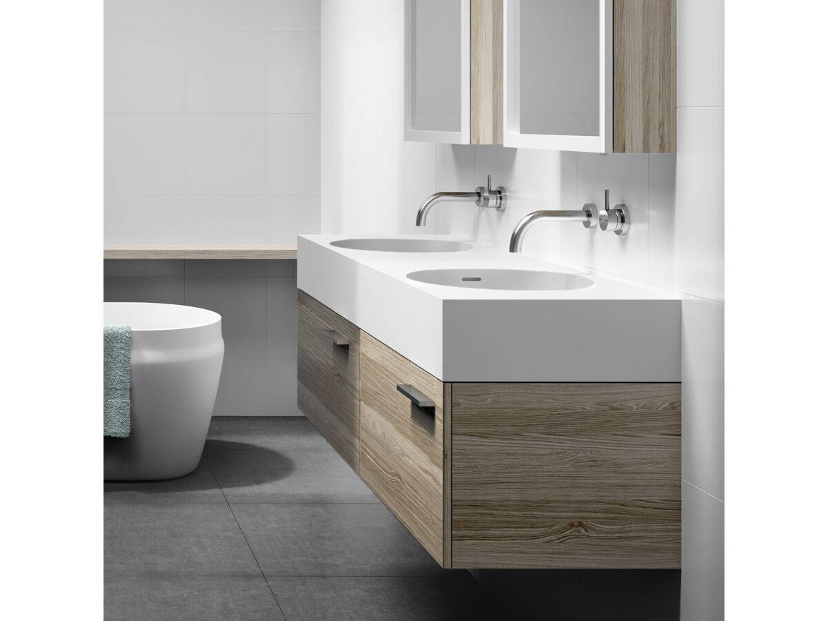 Neo 1400 Double Solid Surface Wall Basin 0 Taphole White