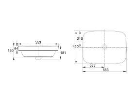 American Standard Cygnet Semi Inset Basin 553mm White