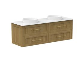 Kado Lux 1500mm All Drawer Wall Hung Vanity Unit 4 Drawers Double Bowl Vanity (No Basin)