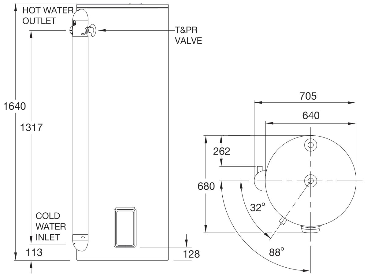 RheemPlus 315L 3.6kW Single Element Electric Hot Water System
