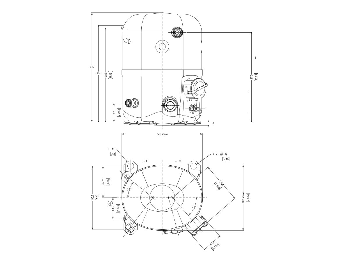 Tecumseh Compressor 1.5HP R134A MHBP FH4518Y-V