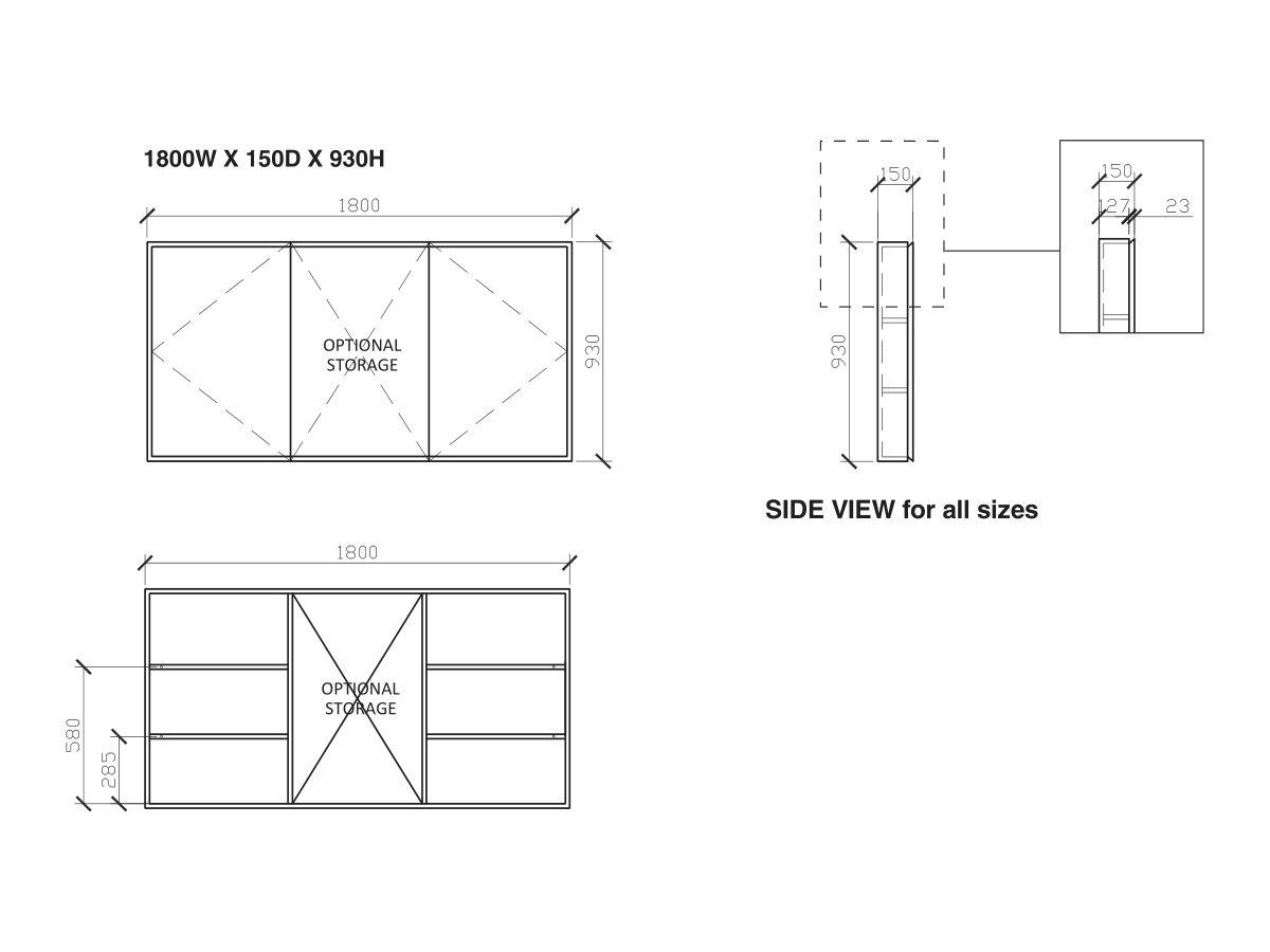 Issy Z8 Triple Shaving Cabinet 1800W x 150D x 930H