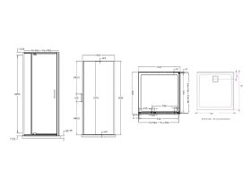 Base MKII Shower System with Rear Outlet 1000mm x 1000mm Chrome