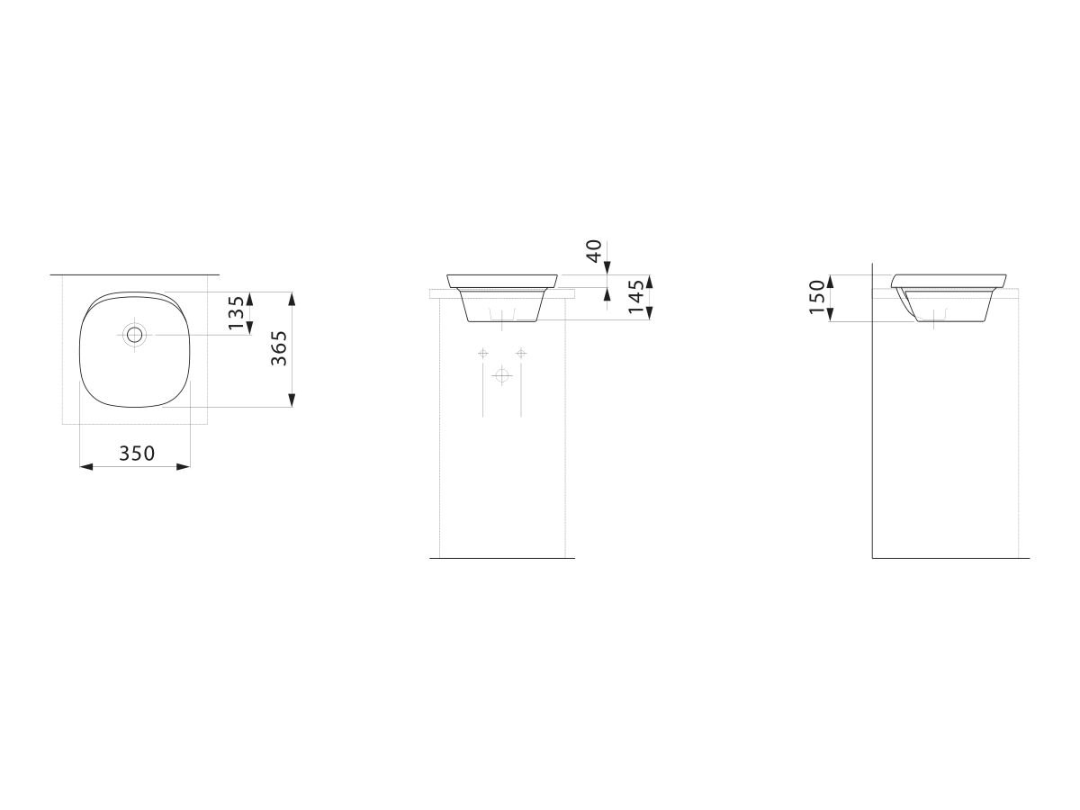 Laufen Ino Semi Inset Basin with Overflow No Taphole 350mm White