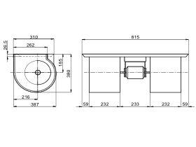 Technical Drawing - Twin Forward Curve Blower 750W