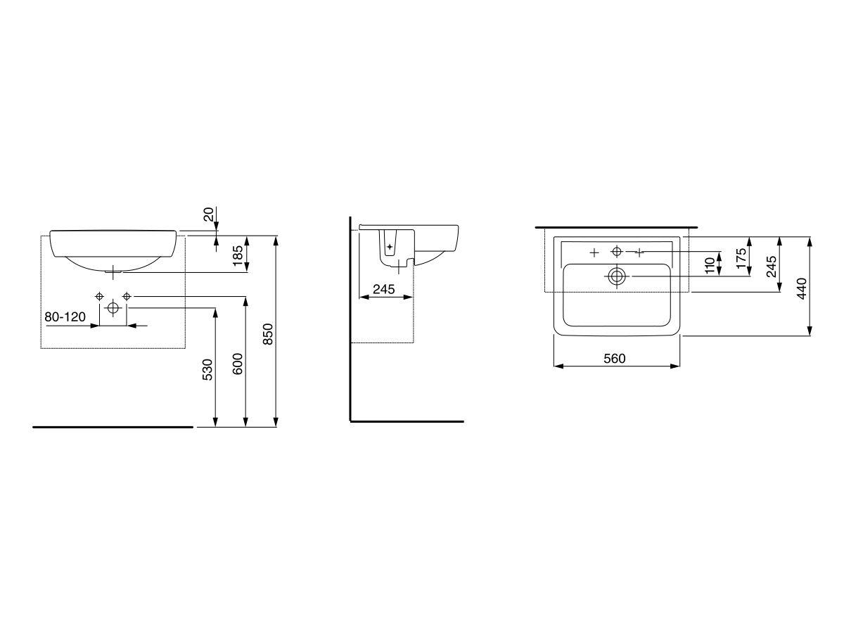Laufen Pro A Semi Recessed Basin 560mm x 440mm 1 Taphole White