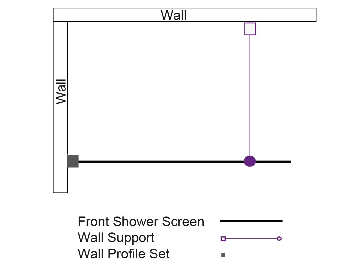 Kado Lux Fixed Shower Screen Panel and Wall Support 1000mm Chrome