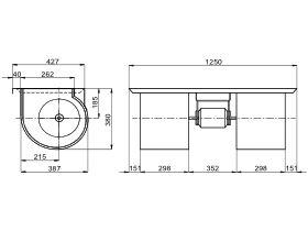 Technical Drawing - Kruger Fan Deck 3 Speed 1100W KD2-9/9 1100W