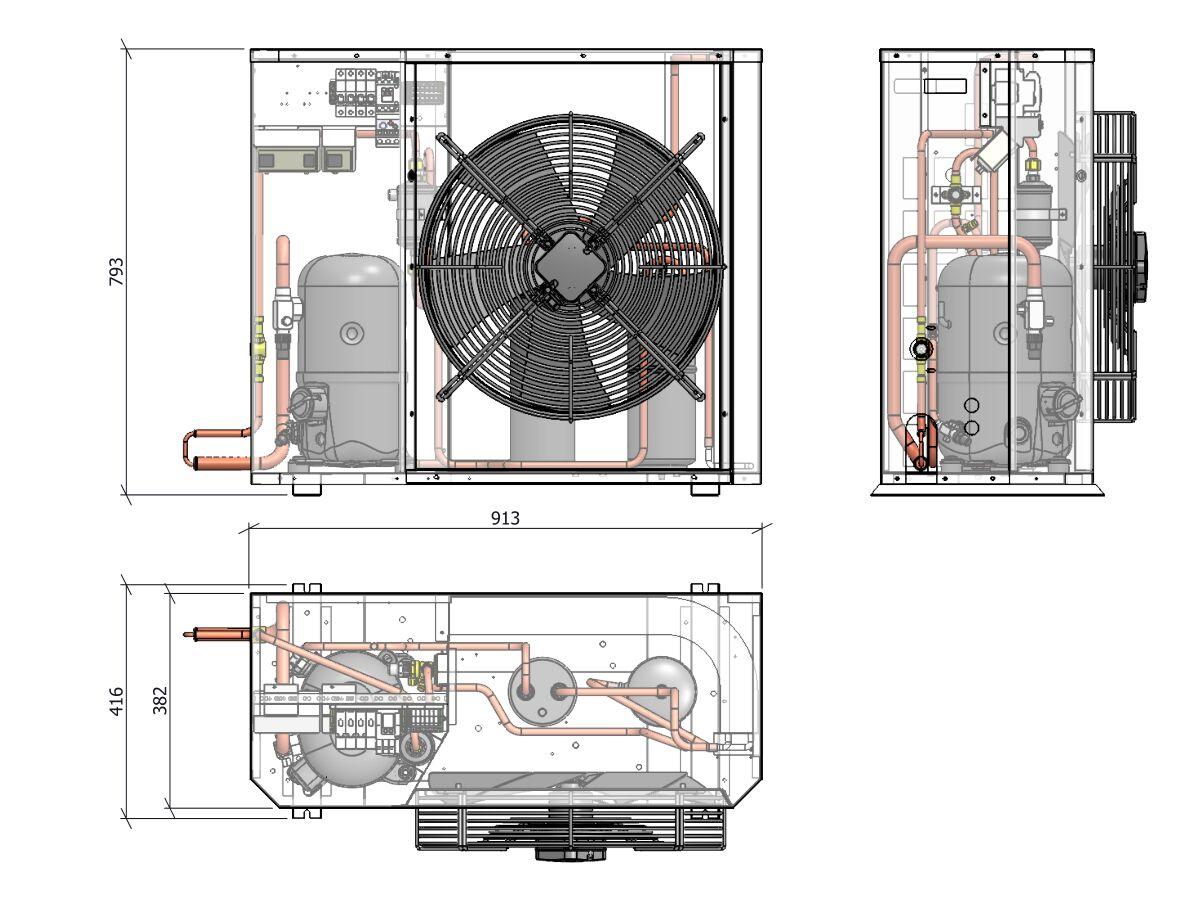 Tecumseh Compac Condensing Unit R404A PAC4540Z 3 Phase