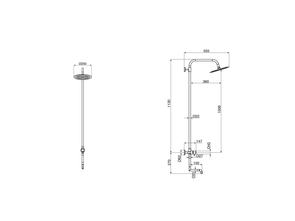 Milli Inox Overhead Rail Shower with Foot Wash Stainless Steel (3 Star)