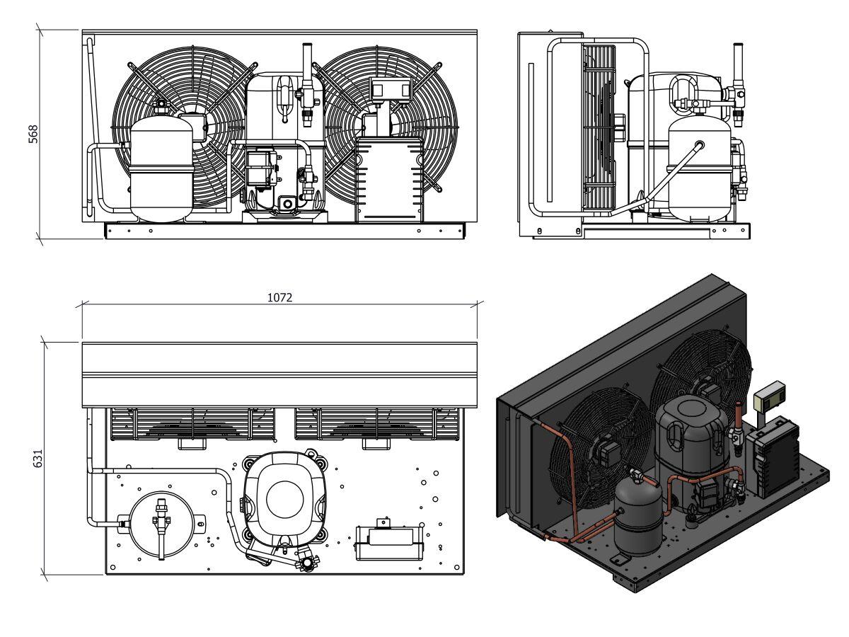 Tecumseh HTA Condensing Unit 4HP R404 MHBP TAGT4546ZHR-2