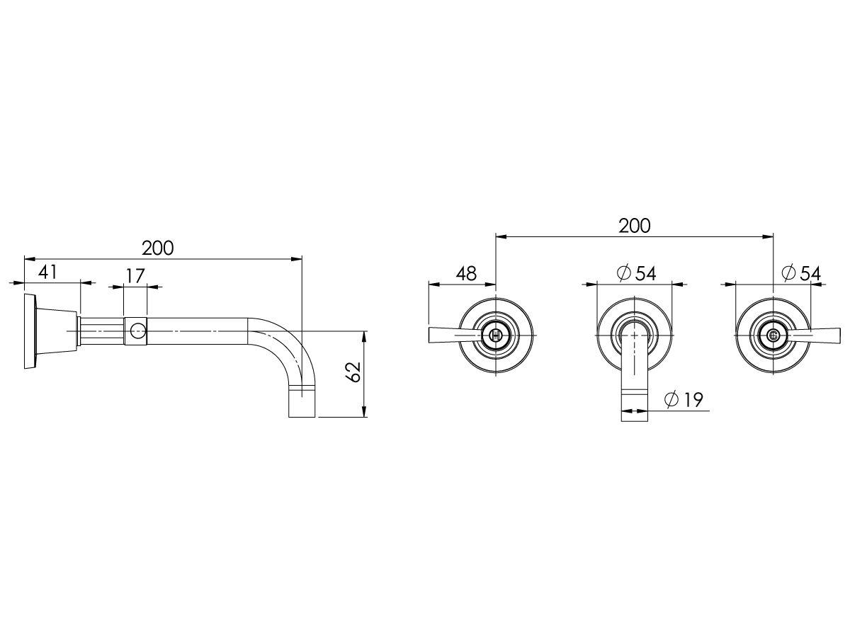 Phoenix Gen X Lever Bath Set Curved Outlet 200mm Chrome