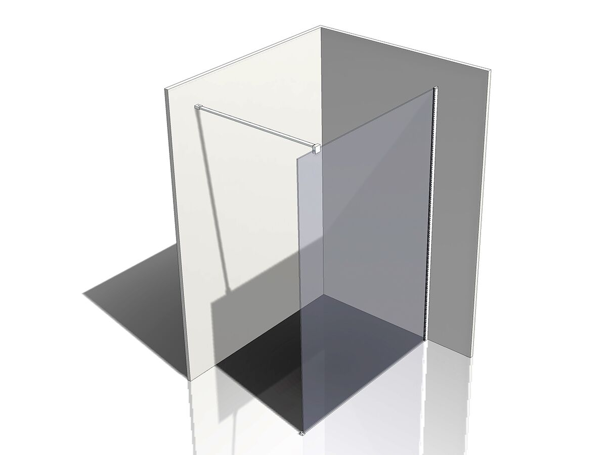 Kado Lux Fixed Shower Screen Panel and Wall Support 1400mm Chrome
