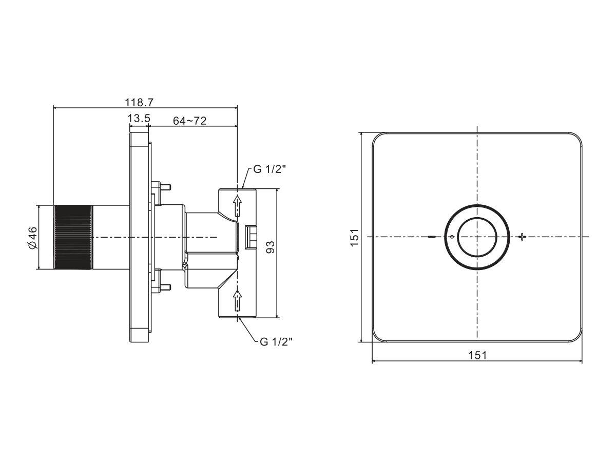American Standard EasySET Overhead Shower Controller Chrome