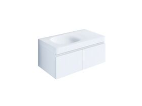 Kado Lussi 900mm Wall Hung Vanity Unit with Two Soft Close Doors Satin White Painted Finish