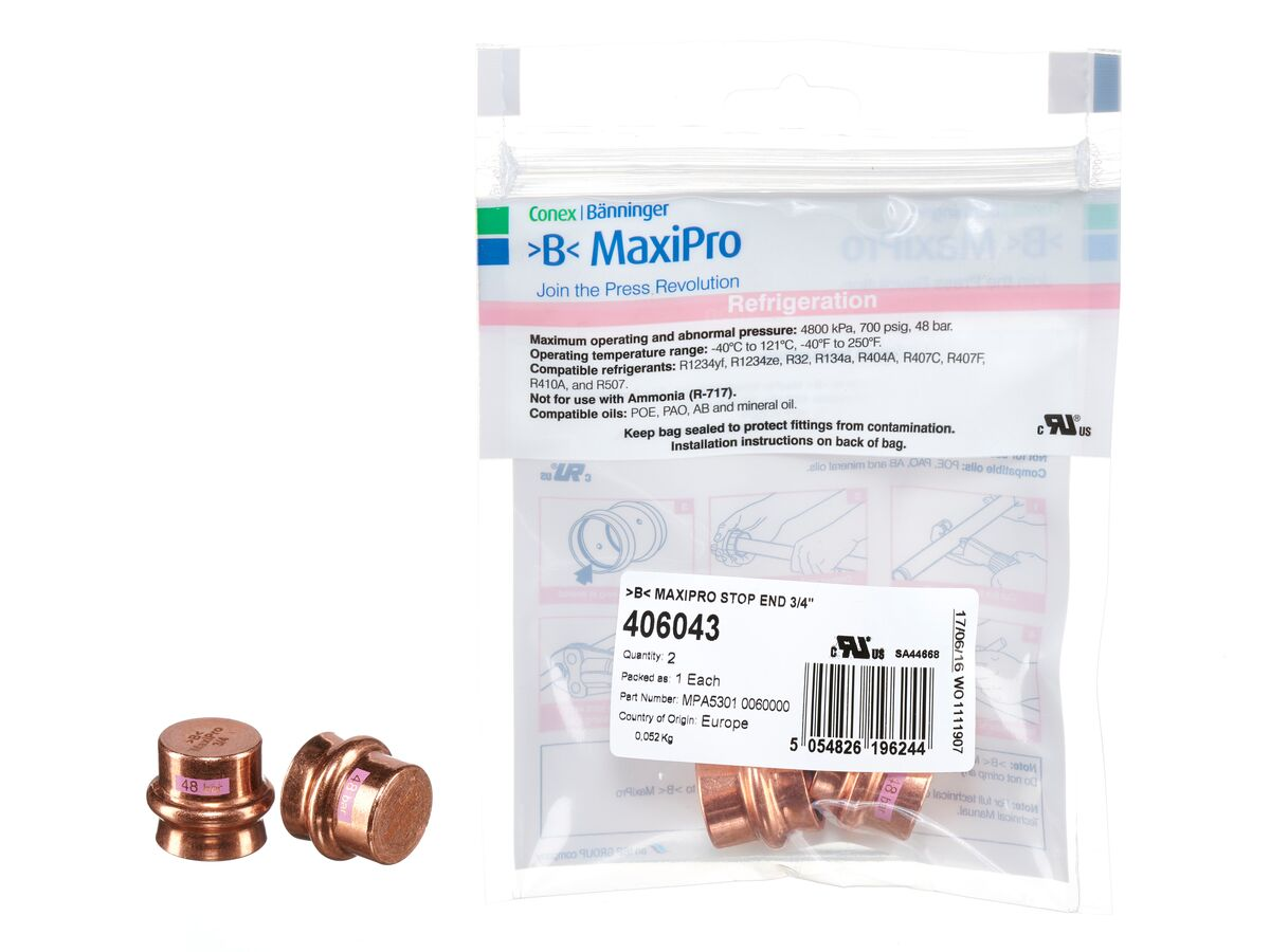 """>B< Maxipro Stop End 3/4"""" Bag of 2"""""""