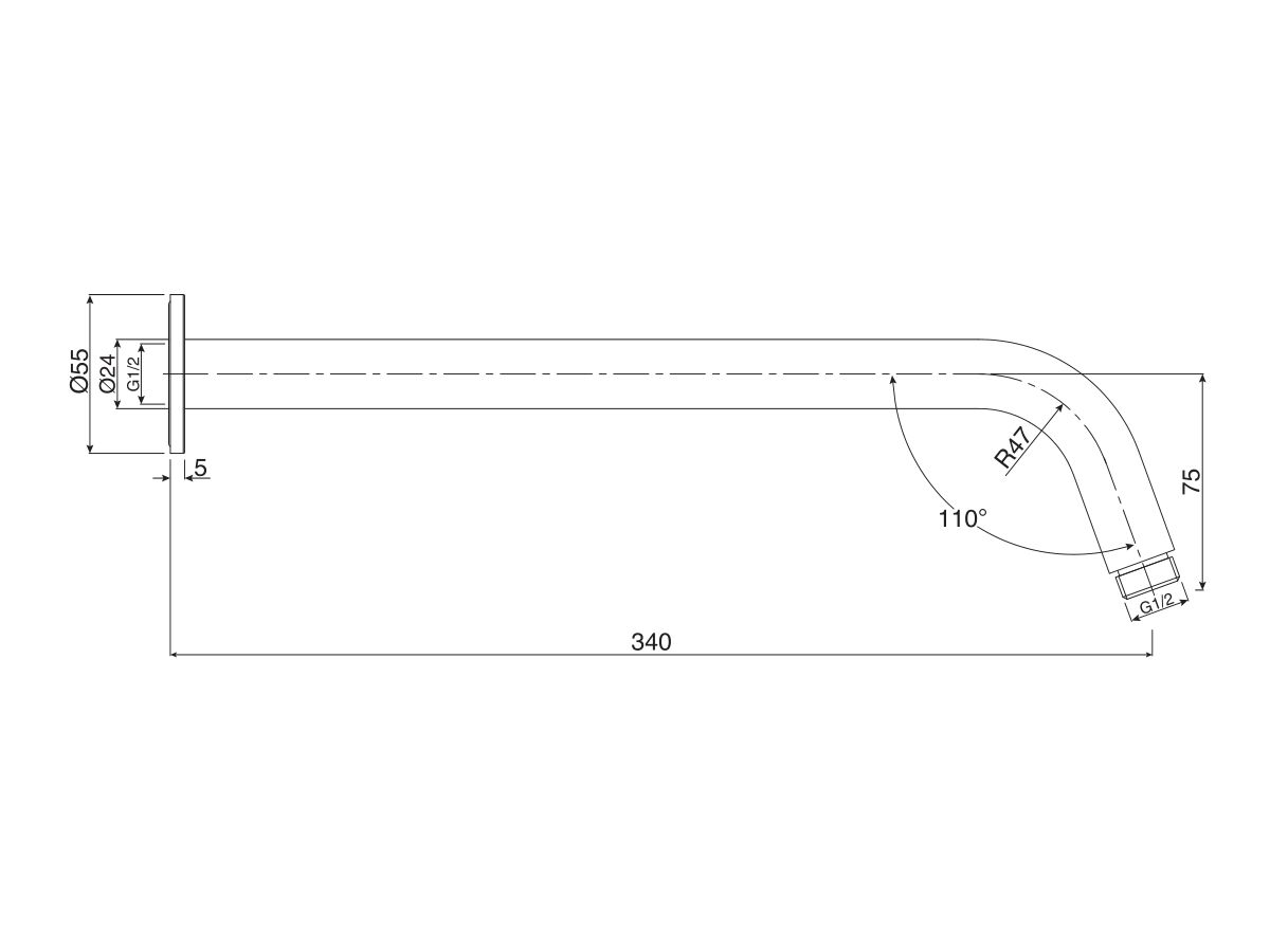 Mizu Drift Wall Straight Shower Arm Only Chrome