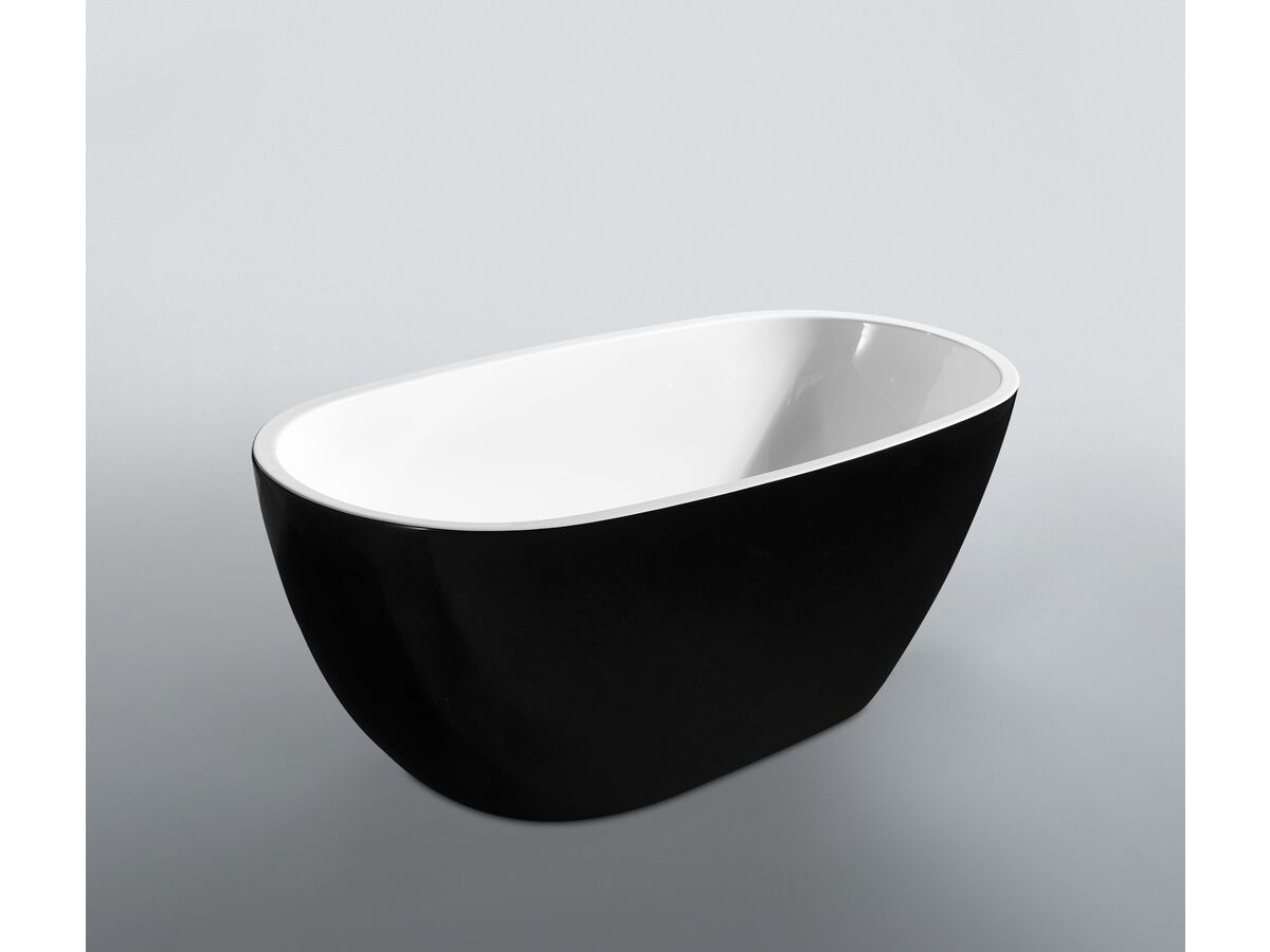Kado Lux Petite Freestanding Bath 1500mm Black/ White