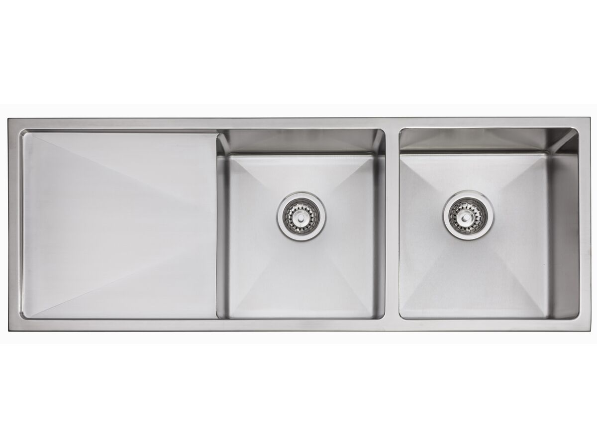 AFA Exact Double Bowl Inset/Undermount Right Hand Bowl Sink No Taphole 1208mm Stainless Steel