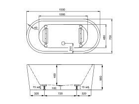 Posh Solus Freestanding Bath 1500 x 700 x 560mm White