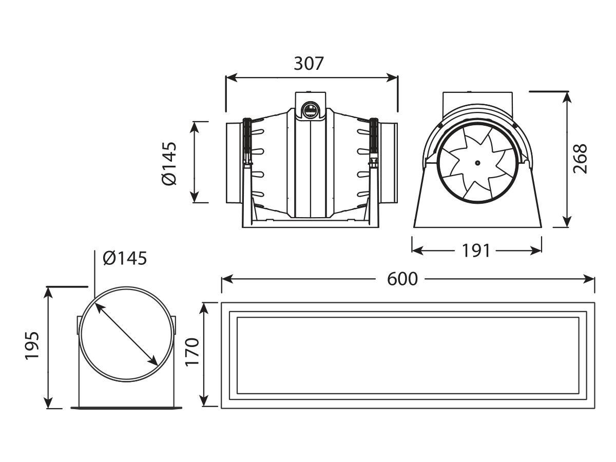 Kado Aspect Flushmount Inline Exhaust White