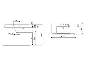 Laufen Pro A Wall Basin 1 Taphole 1050 x 480mm White